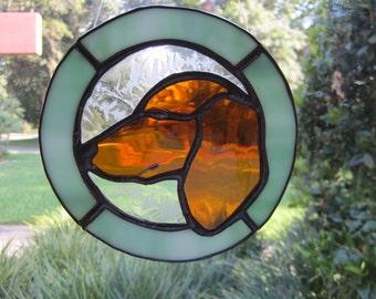 Dachshund  Suncatcher - dog - pet - animal - Doxie - glass art - stained glass - sun catcher - Dachshund