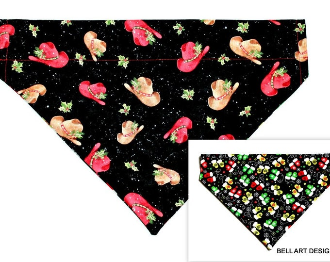 DOG BANDANA ~ Christmas, Cowboy Hats ~ Mittens ~ Over the Collar ~ Reversible ~ Bell Art Designs - Extra Large DCXL0211