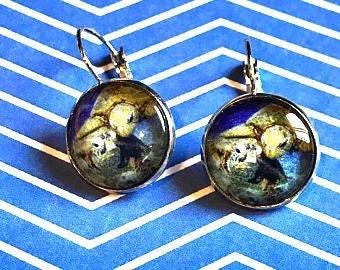Sea turtles cabochon earrings - 16mm