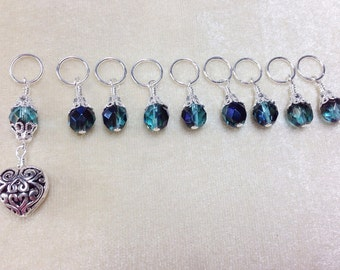 Heart Stitch Marker Set, Teal Beaded Stitch Marker Set, Gift for Knitters, Snag Free