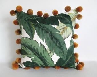 Pillow Cover Swaying Palms Oversize Giant Pom Pom Trim Tommy Bahama Banana Leaf Gold Black or Off White Pom Poms