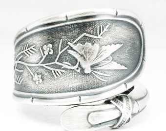 Rare Butterfly Ring, Sterling Silver Spoon Ring, Antique Whiting Japanese 1874, Fultterby Ring, Insect Ring, 925 Adjustable Ring Size (7129)