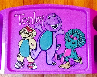 Barney and friends lap tray, Barney game tray, Barney art tray, Barney activity tray, kids activity tray, kids lap tray, kids tv tray