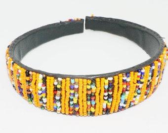 Beaded Headband - Orange & Multicolor