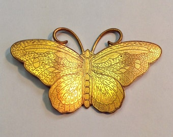 Butterfly Stamping Vintage Large Necklace Piece, Brooch ,Hair Adornment Great Details and Possibilities 65mm
