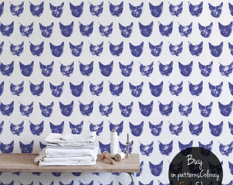 Grunge cat pattern, noisy purple removable wallpaper, self adhesive, reusable wall mural #74