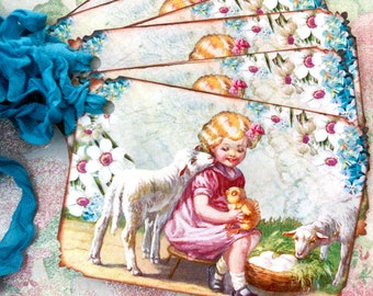 Vintage Easter Tags Girl with Lambs