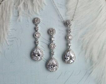 Crystal Bridal Earrings, Wedding Earrings, CZ Bridal Earrings, Vintage Style Earrings, 1920s Downton Abbey, Gatsby Earrings - 'ELISA'