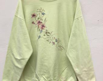 Vintage 90s Northern Reflections Green Cute Flowery Sweatshirt  Size XL