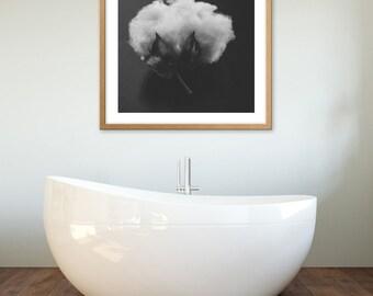 Fine Art Print, Cotton Photo, Macro Art, Natural Art, Bathroom Print, Black and White Photography, Nature Art, Minimalism Art, Square Print