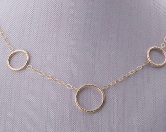 Gold Necklace with Circles, Gold Circle Necklace, Three Ring Necklace, Circle Necklace,