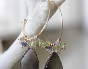 Black Shell Smooth Teardrop and Multi-gem Cluster Hoop Earrings - Handmade