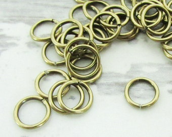 100pcs, 6mm Brass Jump Rings, 20ga, Oxidized Brass Jump Rings, Antique Gold Jumprings, Connectors, Round Jump Rings, Open Jumprings