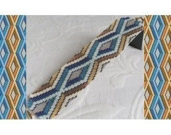 2 Loom or Odd Drop Peyote Bead Patterns - Blue Diamonds Cuff Bracelets - 2 Variations For The Price Of 1