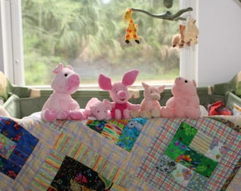 Baby Quilt Pastel Plaids and 9 Block Fun