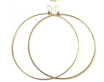 """Vintage Gold Tone 4"""" Hoop Earrings - AS IS"""