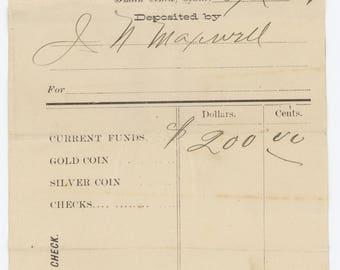 1881 Deposit Slip - Smith Center, Kansas KS - First National Bank - J.N. Maxwell