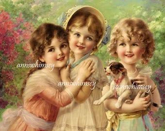 Nursery Art, Little Girl's Room Art, Guest Room Art, Bedroom Art,  Victorian Art Little Girls and Their Puppy  #589