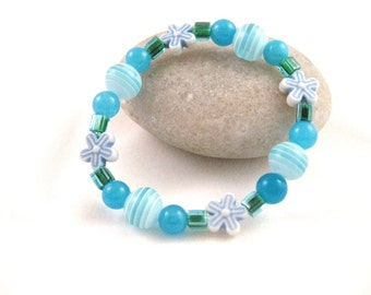 Blue Beaded Bracelet with Blue Flowers, Small Girls Bracelet, GBS 109