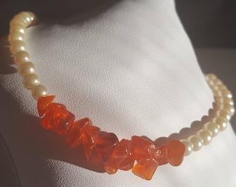 Flame Coloured Quartz and Pearls Beaded Bar Bracelet