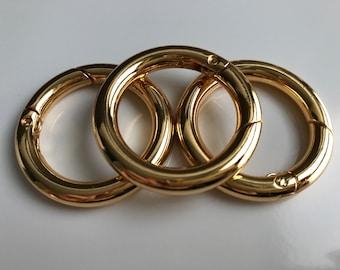 Carabiner snap Hook ring Rundring 30 mm gold Shiny