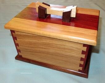 Hand Crafted Hardwood Box - Elegant Three Piece Unisex Jewelry Box - Professional Wedding Fifth Anniversary Retirement - Made USA Item 4910