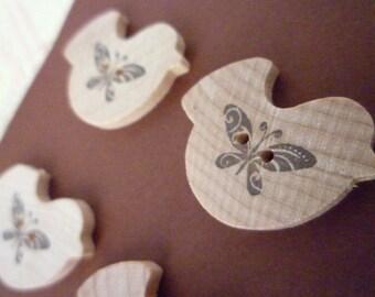 CLEARANCE Wooden Bird Shaped Buttons - Butterfly Bird Collection