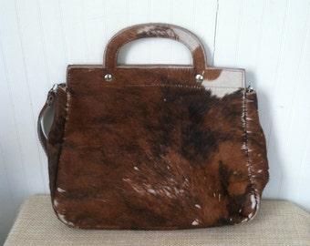 Vintage Cowhide Tote Bag Purse Shoulder Bag Men Women Maine Leather Brown Cow Hide Hair Hide Accessory Fall Bag Winter Bag Fur Bag