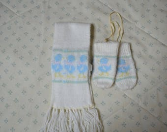 Vintage Scarf and Mittens for a Baby with Blue Baby Chicks and Fringe