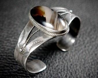 Old Pawn Navajo Silver Bracelet Petrified Wood