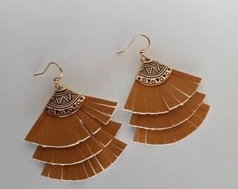 Lucy Leather  Fan Earrings