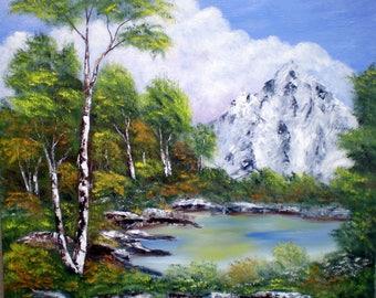 """Peinture sur toile """" Vue sur la montagne """""""