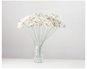 Paper Flowers - 25 Long Stem Book Page Paper Roses - Perfect for anniversaries, weddings , homedecor