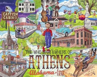 Le qui, quoi et où d'Athènes, Alabama cartes postales paquet de 10 signé par l'artiste