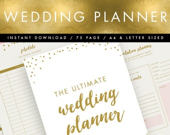 Printable Wedding Planner INSTANT DOWNLOAD // Pink & Gold // Wedding Organiser, DIY Planner, Printable To Do List // 75 pages