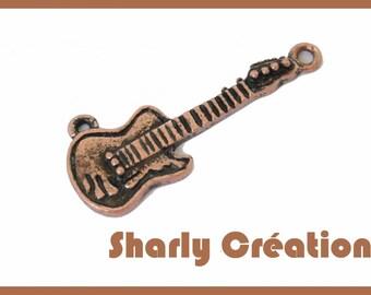 2 antique copper metal guitar charms pendants