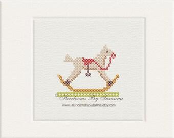 Antique Cross Stitch Rocking Horse - Machine Cross Stitch Design - Machine Embroidery Design  - Nursery Design - 4x4, HBS-RHORSE-2