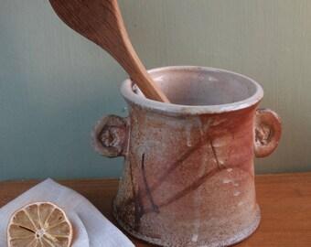 Ceramic utensil holder, kitchen organizer, vase, handmade wood fired and salt fired stoneware