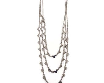 Long Silver Necklace - Long Multistrand Necklace - Silver Multistrand Necklace - Silver Layered Necklace - Long Layered Necklace