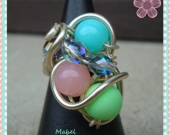 Multicolored pastel, UNIQUE, light gold, adjustable aluminum wire, wedding ring