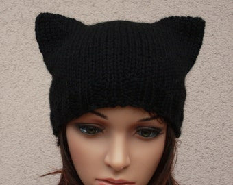 Hat Cat.Ladies beanie ''Black Cat''! Hand knitted, seamless.Knit  Hat Cat Ears. Available in many colours.