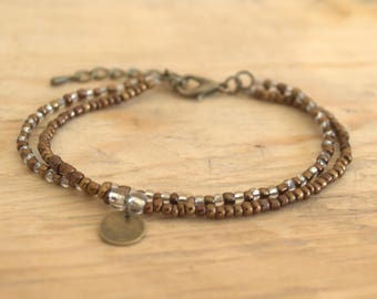 Bracelet seed beads - color white and Bronze - delicate and feminine Bracelet