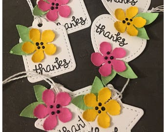 Handmade Thank You Gift Tags Pink Yellow Flower Green Leaves Teacher Gifts Wedding Shower Tiny Petite Tags set of 6