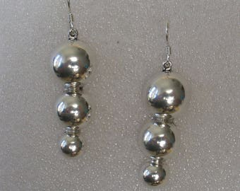"""SALE Three Descending Balls Mexican Sterling Silver 2"""" Earrings"""