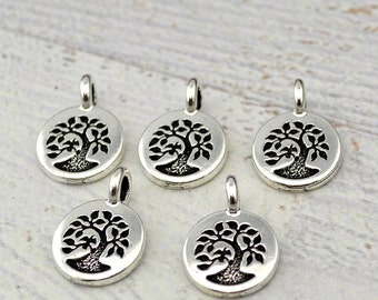 BIRD In a TREE Charms, Antique Silver, Tree of Life, TierraCast Pendants, Tiny Charm Drops, Qty 4 to 20, Yoga Wrap Bracelet Findings