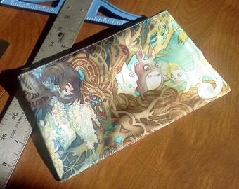 Totoro & Pangur Bán Cat (Studio Ghibli / Miyazaki x Secret of Kells Crossover) Art Nouveau Zipper Bag