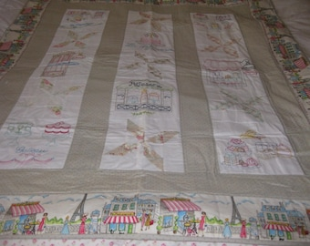 Hand Embroidered French Pastry Quilt