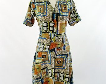 50's Novelty Print Fit and Flare Dress - Size XSmall Small