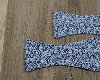 Handmade bow tie blue floral self tie freestyle colorful cotton bowtie