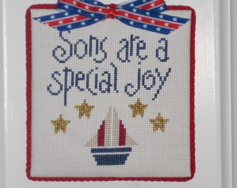 "Finished Cross Stitch ""Sons are a special joy"""